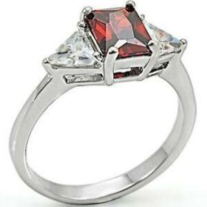 Sterling Silver Garnet Ruby Ring Size 5 6 7 8 9 10